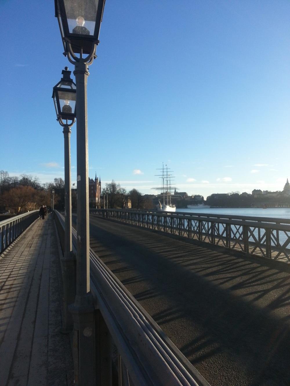 View from bridge crossing to Skeppholmen